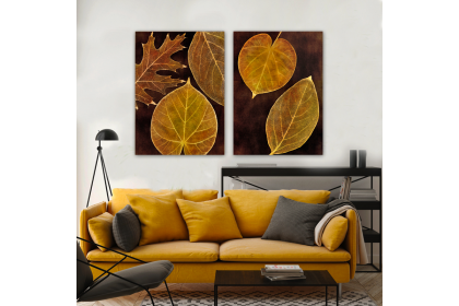 Autumn Leaves Dark Background Canvas Frame Wall Art