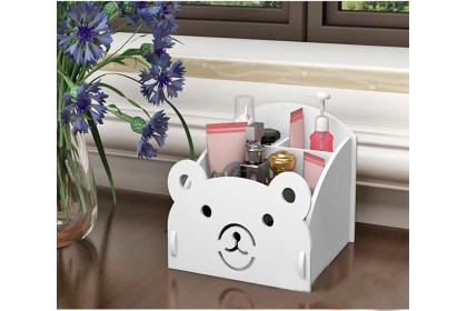 Comestic storage box nail gel beauty tools organizer tabletop rack multipurpose cute bear simple rack rak komestik