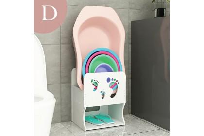 Bathroom waterproof wash basin storage pail rack organizer toilet space saver simple storage rack rak tong air besin